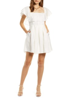 Something Navy Convertible Ruffle Neck Fit & Flare Dress (Nordstrom Exclusive)