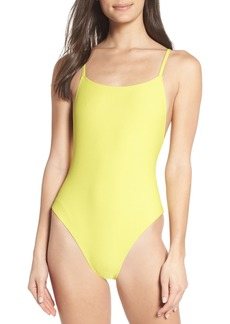 Something Navy Core Ribbed One-Piece Swimsuit (Nordstrom Exclusive)