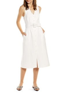 Something Navy Sleeveless Button-Up Midi Dress (Nordstrom Exclusive)