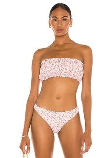 Something Navy Blossom Bandeau Bikini Top