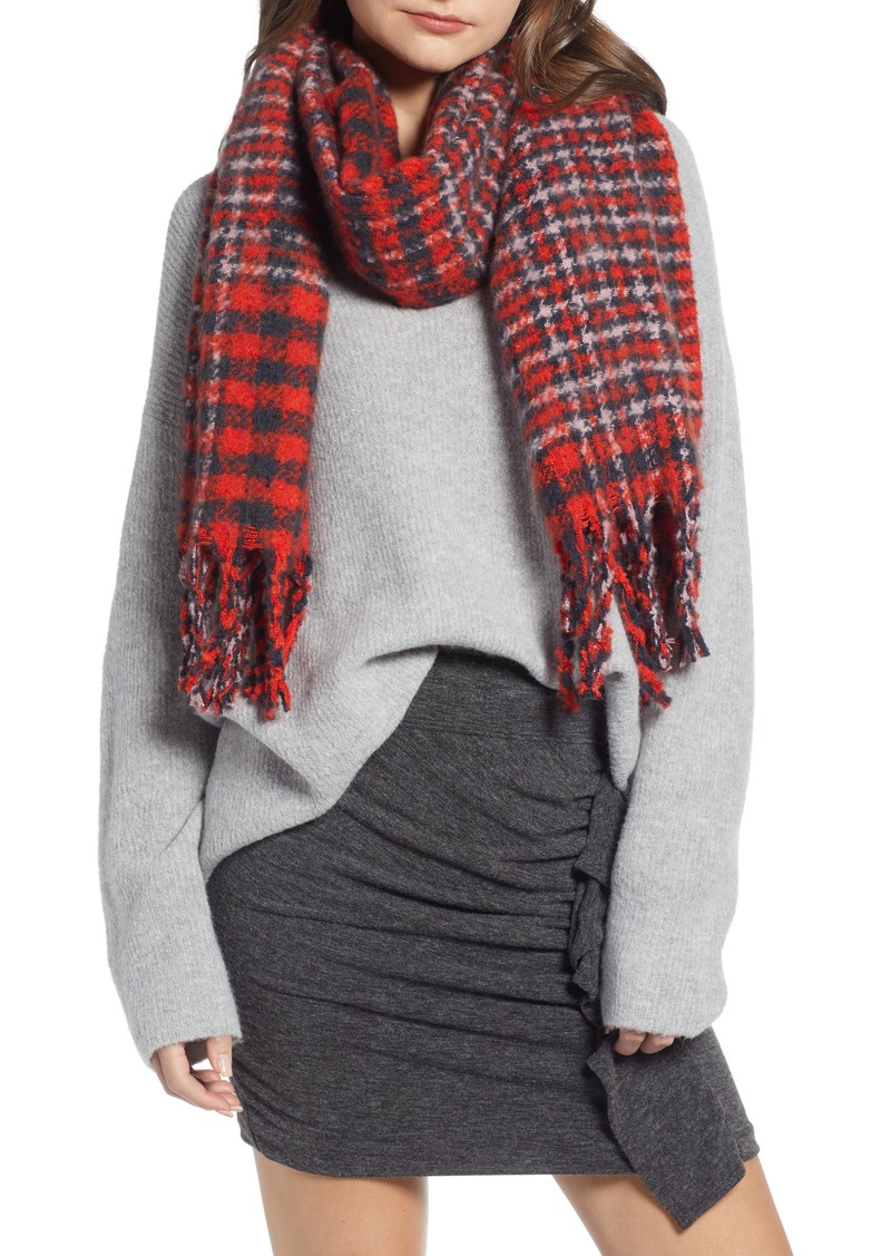 Something Navy Check Blanket Scarf (Nordstrom Exclusive)