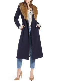 Something Navy Faux Fur Collar Midi Coat (Nordstrom Exclusive)