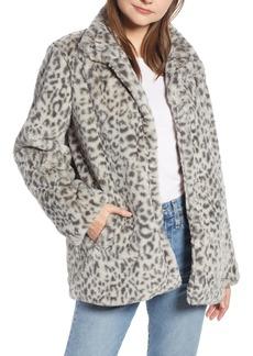 Something Navy Faux Fur Midi Coat (Nordstrom Exclusive)