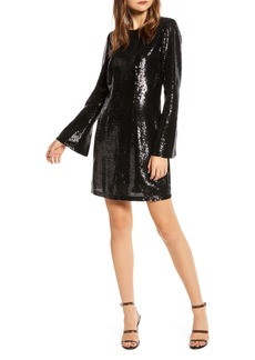 Something Navy Long Sleeve Sequin Minidress (Nordstrom Exclusive)