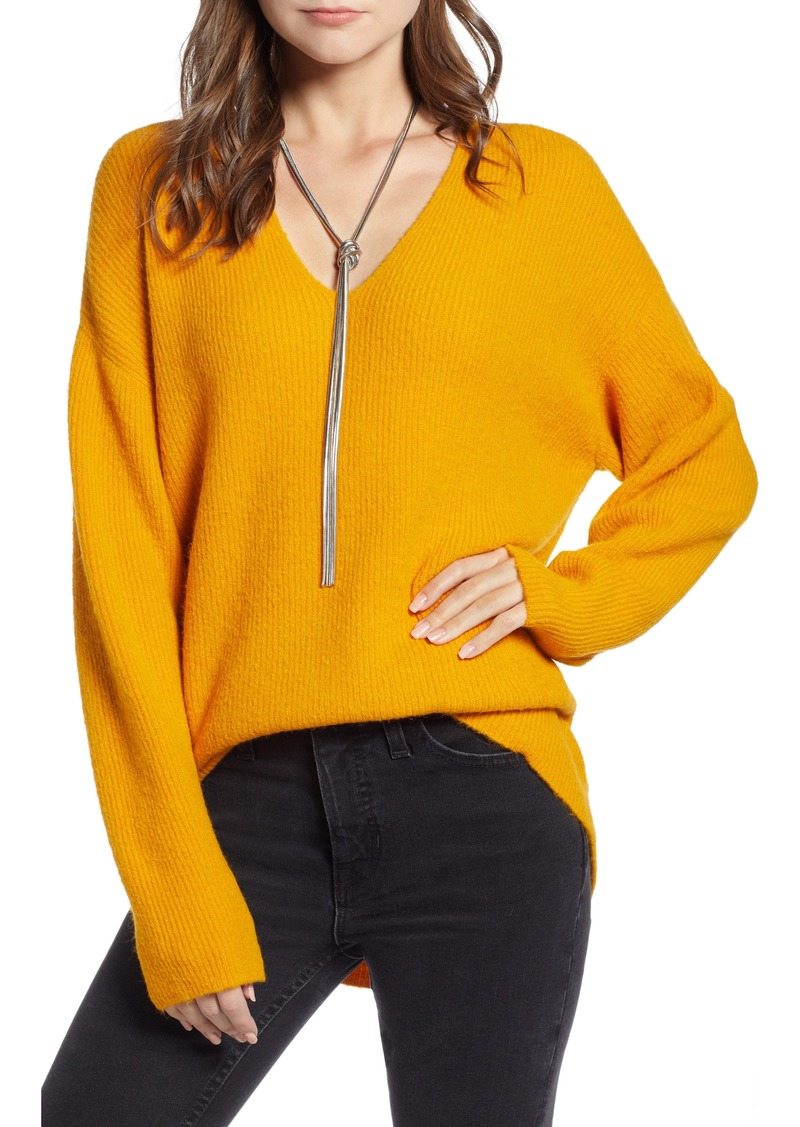 Something Navy Low Neckline Slouchy Pullover (Nordstrom Exclusive)