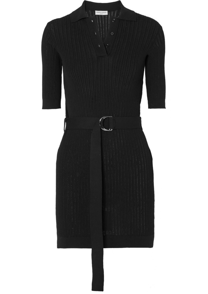 Sonia Rykiel Belted Ribbed Cotton-blend Mini Dress