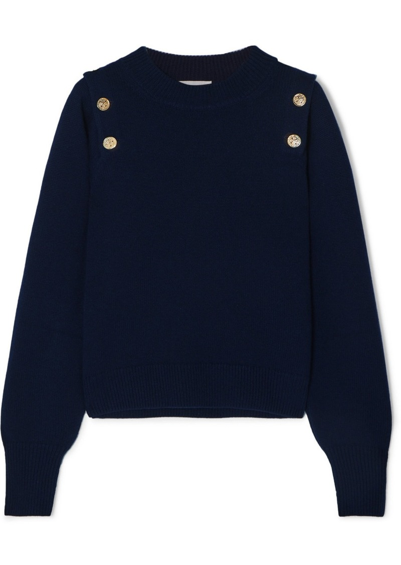 Sonia Rykiel Button-embellished Wool And Cashmere-blend Sweater