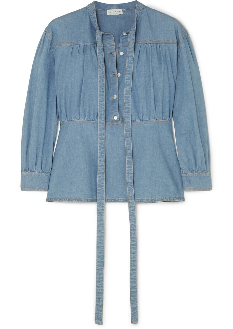 Sonia Rykiel Cotton-blend Chambray Blouse
