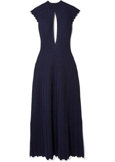 Sonia Rykiel Cutout Pleated Metallic Wool-blend Maxi Dress