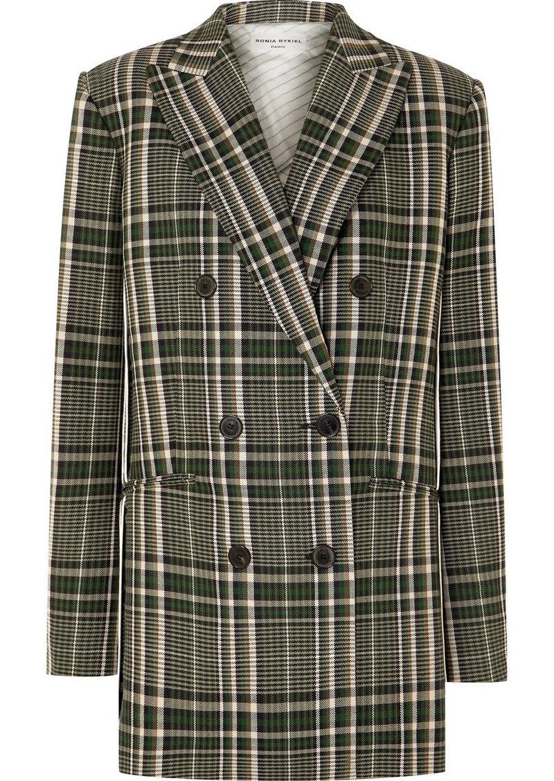 Sonia Rykiel Double-breasted Checked Wool Blazer
