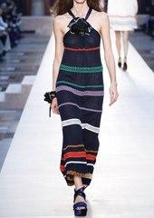 Sonia Rykiel Embroidered Stripes Cotton Voile Dress