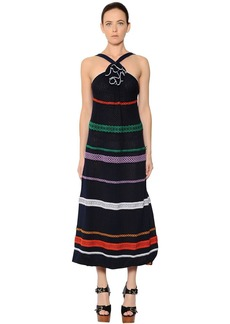 Sonia Rykiel Embroidered Stripes Cotton Voile Dress
