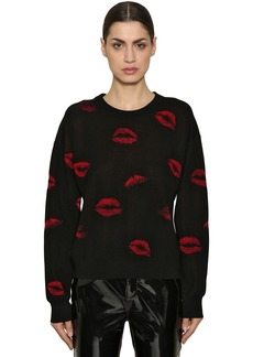 Sonia Rykiel Lips Wool Jacquard Knit Sweater