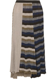 Sonia Rykiel Metallic Striped Ribbed-knit Skirt