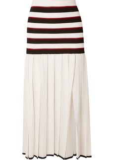 Sonia Rykiel Pleated Striped Cupro Skirt