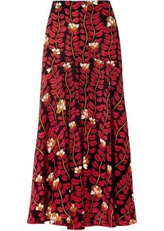 Sonia Rykiel Printed Silk Crepe De Chine Midi Skirt