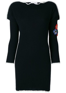 Sonia Rykiel ribbed floral embroidered knitted dress