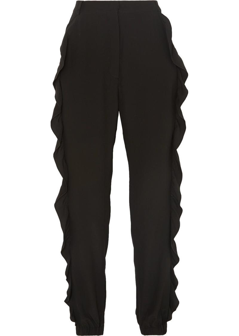 Sonia Rykiel Ruffled Silk Crepe De Chine Slim-leg Pants