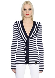 Sonia Rykiel Ruffled Striped Knit Cardigan