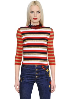 Sonia Rykiel Sequin & Lurex Striped Knit Sweater