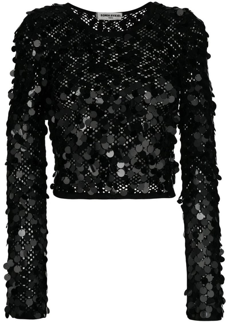 Sonia Rykiel sequinned net blouse