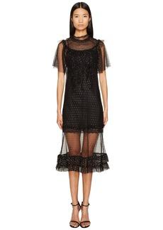 Sonia Rykiel Short Sleeve Plumetis Dress with Frills
