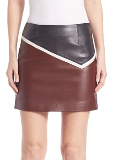 Sonia by Sonia Rykiel Colorblock Leather Skirt