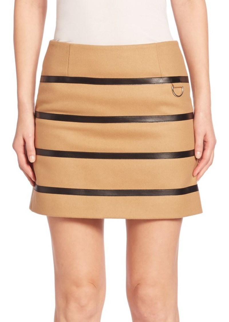 Sonia by Sonia Rykiel Faux Leather Striped Wool-Blend Skirt