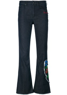 Sonia Rykiel anemone detail flared trousers - Blue