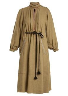 Sonia Rykiel Balloon-sleeve linen midi dress