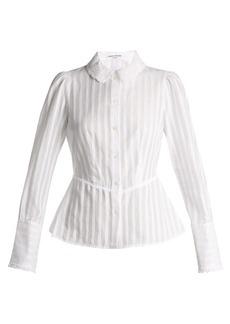Sonia Rykiel Broderie-anglaise collar striped cotton blouse