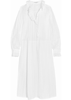 Sonia Rykiel Broderie anglaise-trimmed cotton-sateen shirt dress