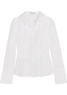 Sonia Rykiel Broderie anglaise-trimmed striped cotton-poplin blouse
