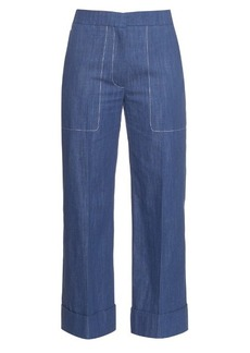 Sonia Rykiel Chambray straight-leg cropped trousers