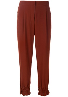 Sonia Rykiel crepe ruched track pants - Brown