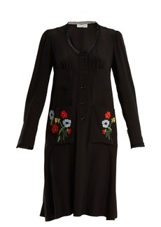Sonia Rykiel Floral-embroidered lace-trimmed silk dress