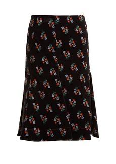 Sonia Rykiel Floral-print A-line cotton-blend midi skirt