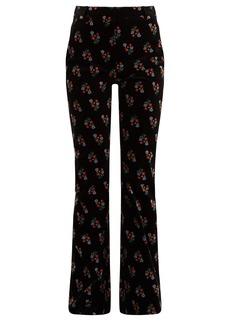 Sonia Rykiel Floral-print flared-leg corduroy trousers
