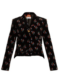 Sonia Rykiel Floral-print single-breasted corduroy jacket