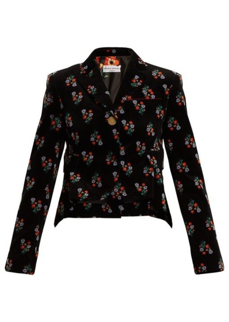 Sonia Rykiel Floral-print single-breasted corduroy jacket
