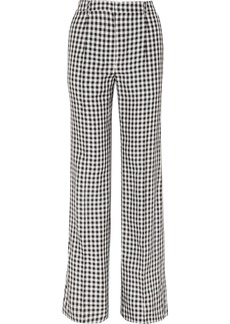 Gingham twill wide-leg pants