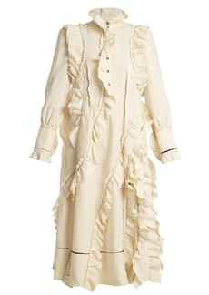 Sonia Rykiel High-neck ruffle-trimmed linen dress