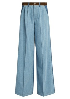 Sonia Rykiel High-waisted wide-leg patchwork jeans