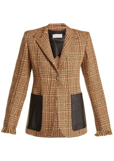 Sonia Rykiel Leather-pocket wool-blend tweed blazer