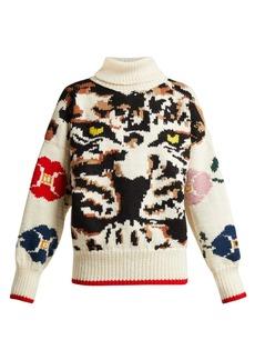 Sonia Rykiel Leopard intarsia-knit wool sweater