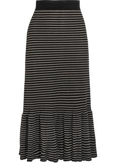 Sonia Rykiel Metallic striped cotton-blend midi skirt
