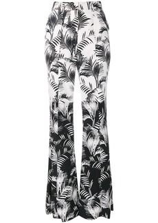 Sonia Rykiel palm print crepe flared trousers - Black