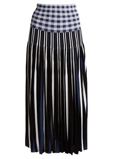 Sonia Rykiel Pleated knitted gingham skirt