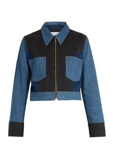 Sonia Rykiel Point-collar patchwork cotton-blend denim jacket