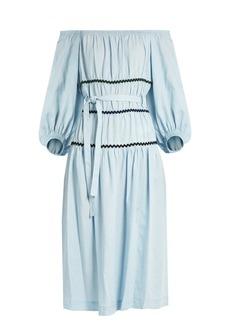 Sonia Rykiel Ric-rac trimmed off-the-shoulder dress